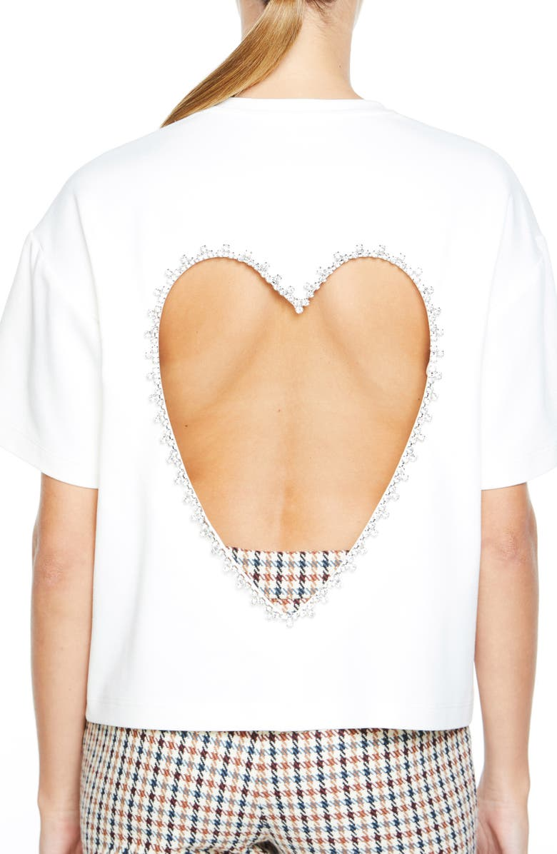 AREA Crystal Embellished Heart Cutout T-Shirt, Main, color, WHITE
