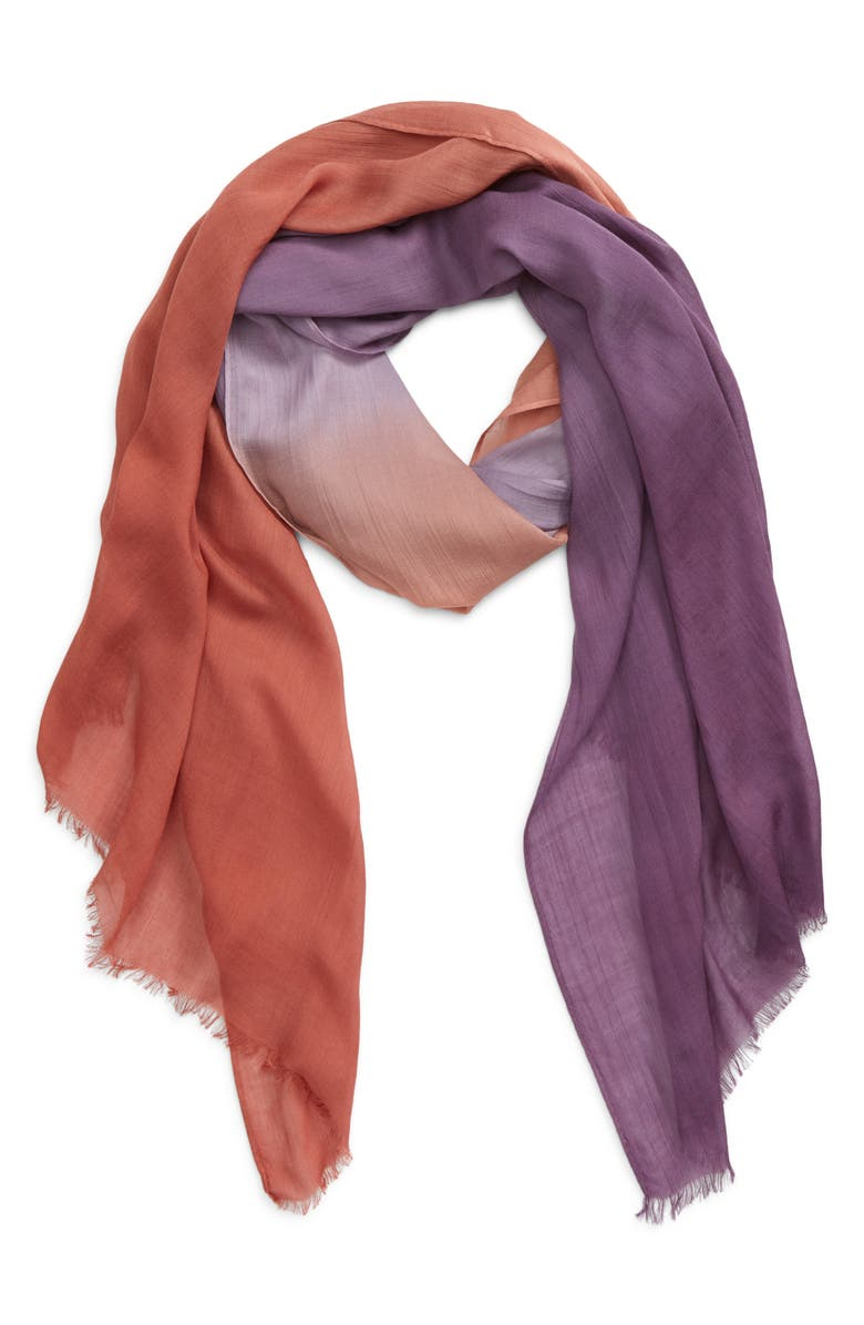 SOLE SOCIETY Fringe Trim Scarf, Main, color, DARK ORANGE