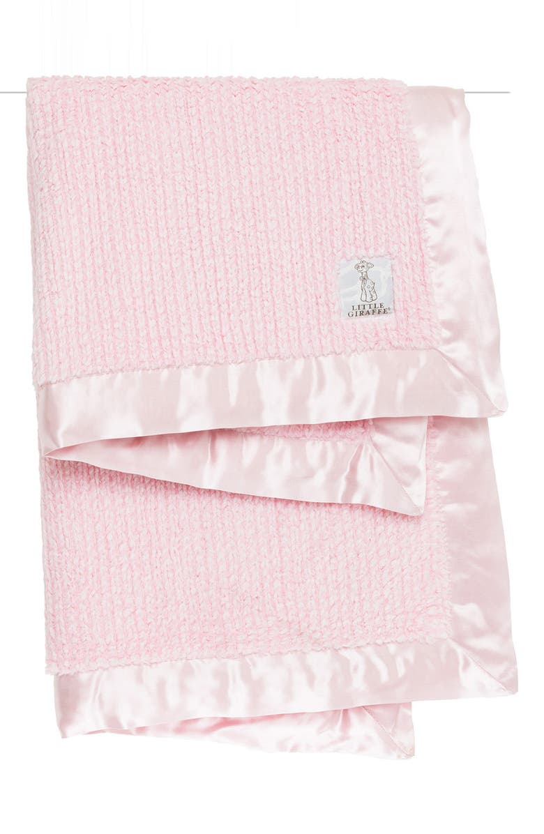 LITTLE GIRAFFE Luxe Herringbone Blanket, Main, color, PINK