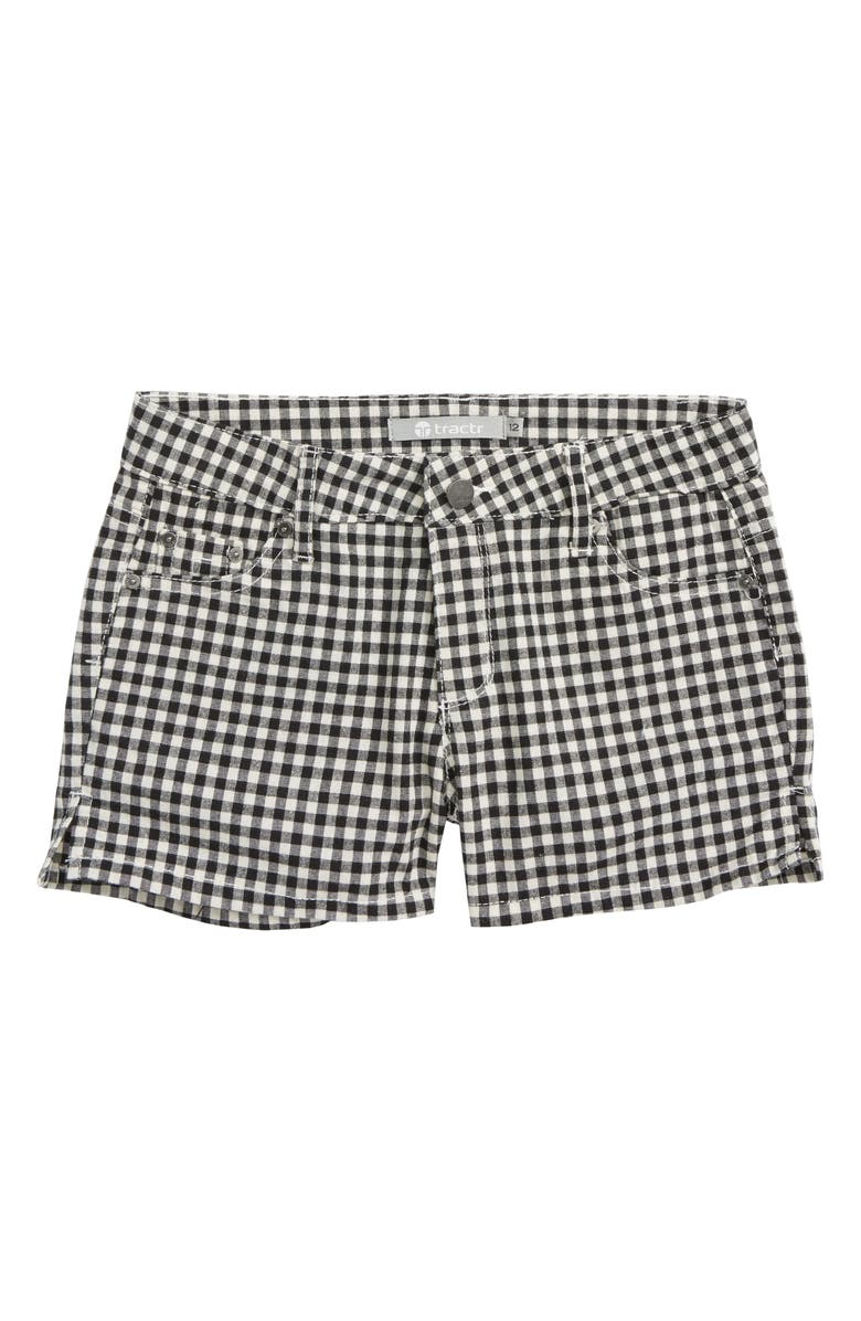TRACTR Gingham Shorts, Main, color, BLACK/ WHITE