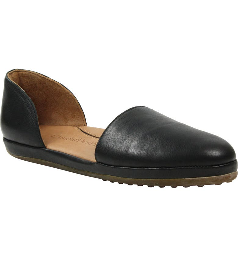 L'AMOUR DES PIEDS Yemina Flat, Main, color, BLACK LEATHER