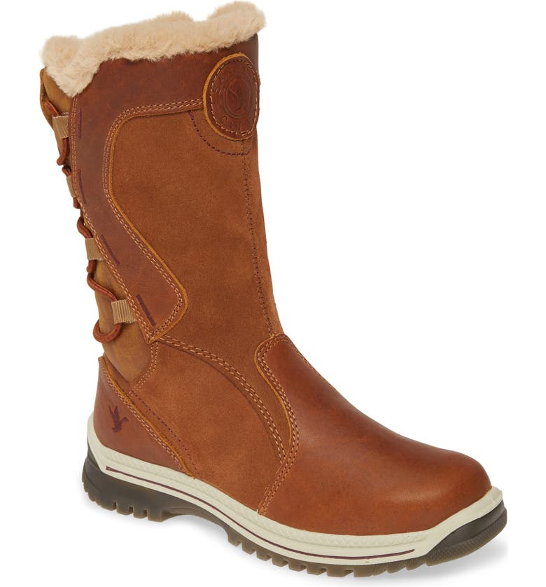 SANTANA CANADA Meyer Luxe Faux Fur Lined Waterproof Boot, Main, color, COGNAC / BURGUNDY LEATHER
