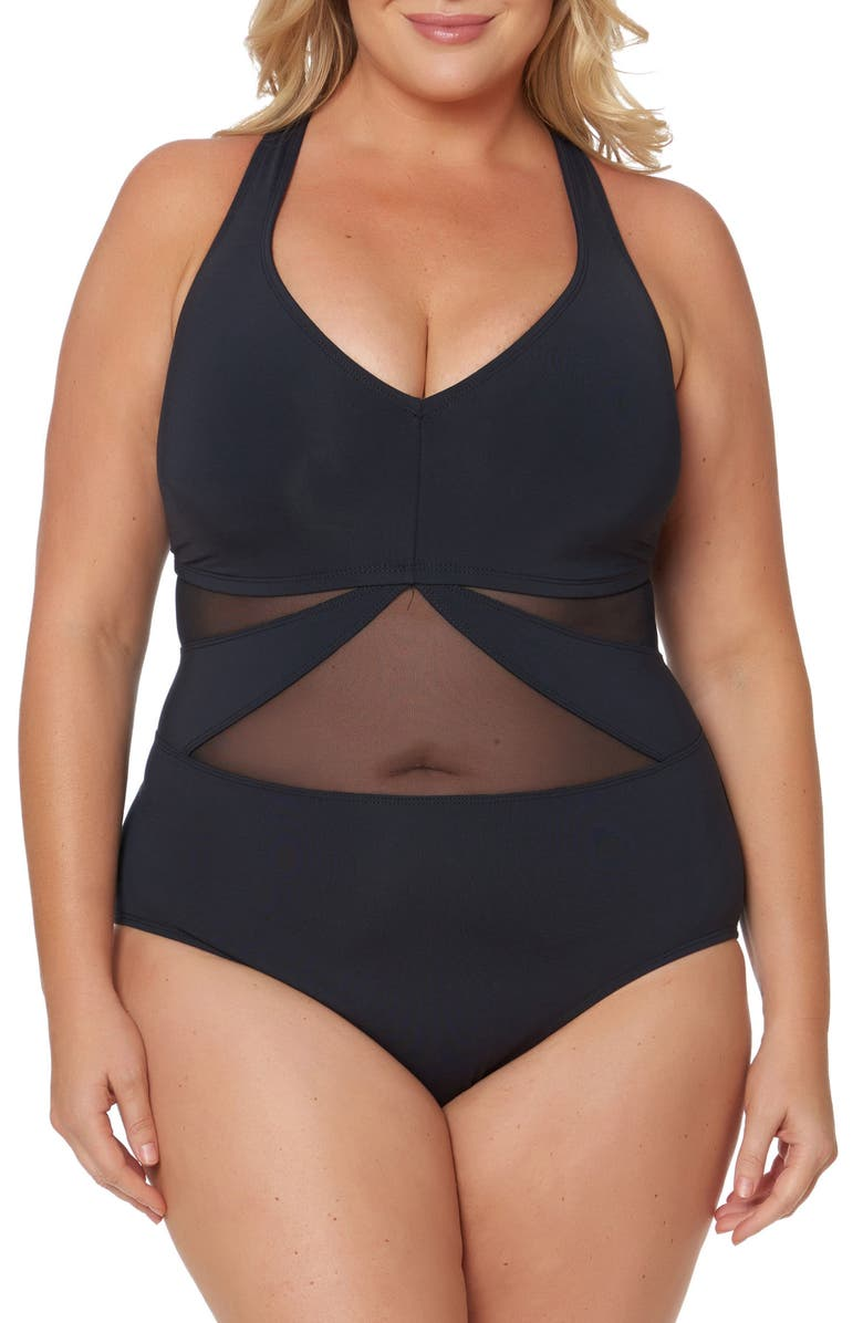 BLEU BY ROD BEATTIE Bleu by Rob Beattie Mesh One-Piece Swimsuit, Main, color, 001
