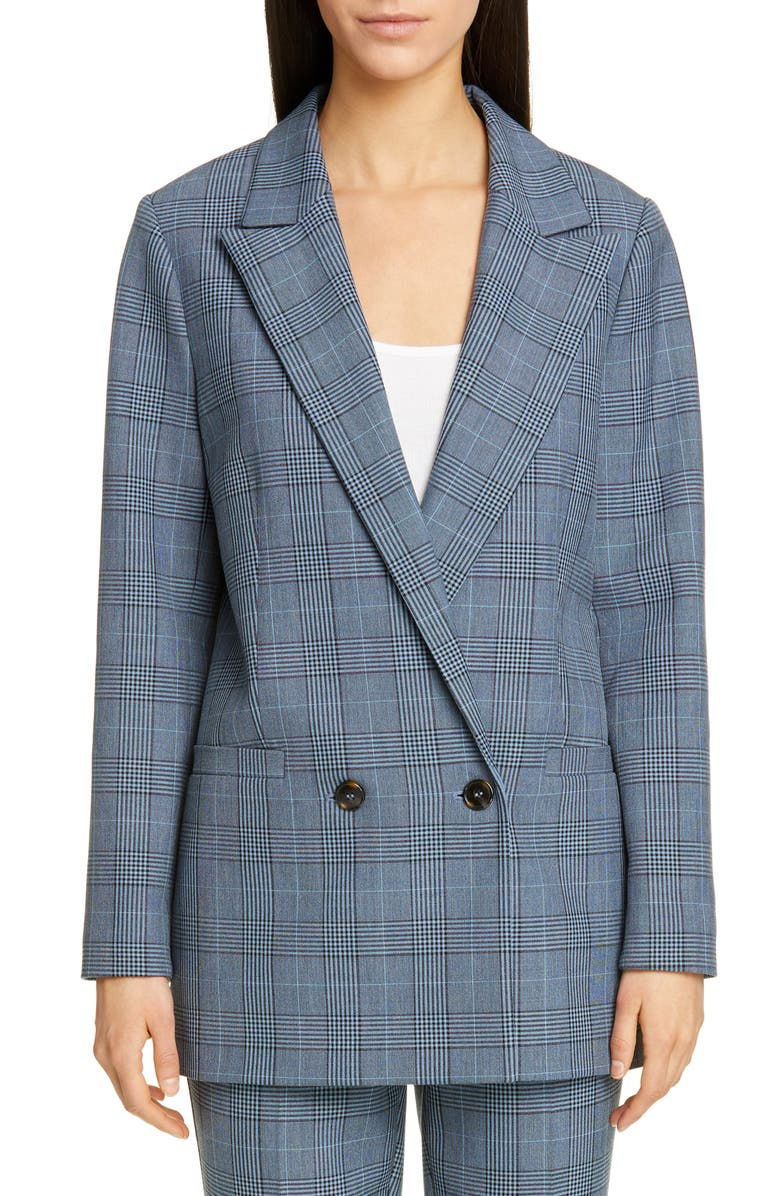 GANNI Double Breasted Plaid Suiting Blazer, Main, color, 400