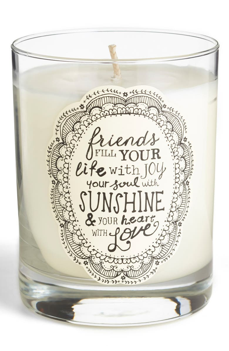 NATURAL LIFE 'Friends Fill Your Life with Joy' Candle, Main, color, White