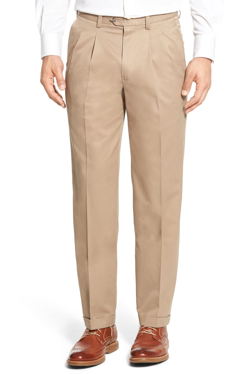 NORDSTROM Classic Smartcare<sup>™</sup> Pleated Supima<sup>®</sup> Cotton Dress Pants, Main, color, TAN DESERT
