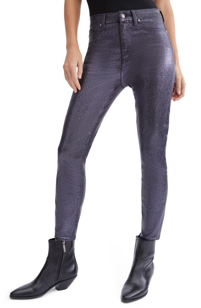 7 FOR ALL MANKIND<SUP>®</SUP> (b)air Coated High Waist Ankle Skinny Jeans, Main, color, BLACK