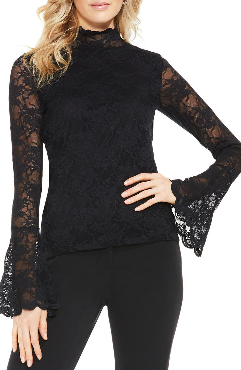 VINCE CAMUTO Bell Sleeve Lace Top, Main, color, RICH BLACK