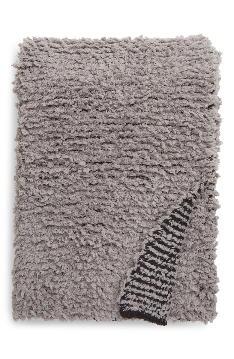 BAREFOOT DREAMS<SUP>®</SUP> CozyChic<sup>™</sup> Loop Fringe Throw Blanket, Main, color, DOVE GRAY/ CARBON