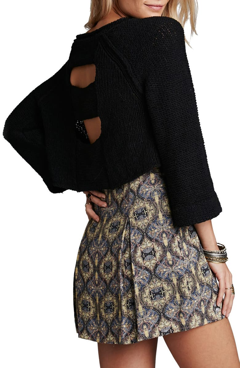 FREE PEOPLE 'Endless Stories' Open Back Crop Sweater, Main, color, Black