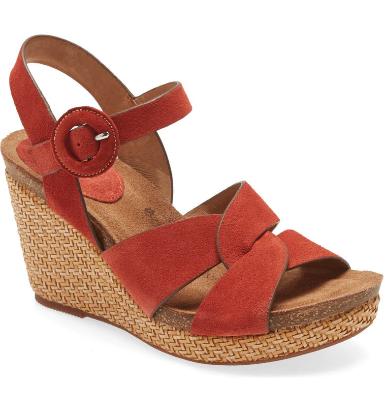 SÖFFT Casidy Wedge Sandal, Main, color, CORAL SUEDE