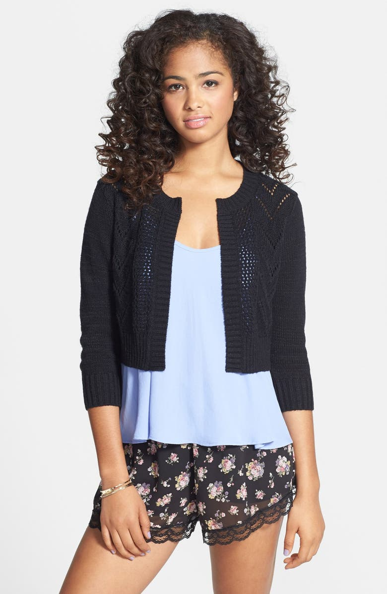 FRENCHI <sup>®</sup> Pointelle Knit Crop Cardigan, Main, color, BLACK