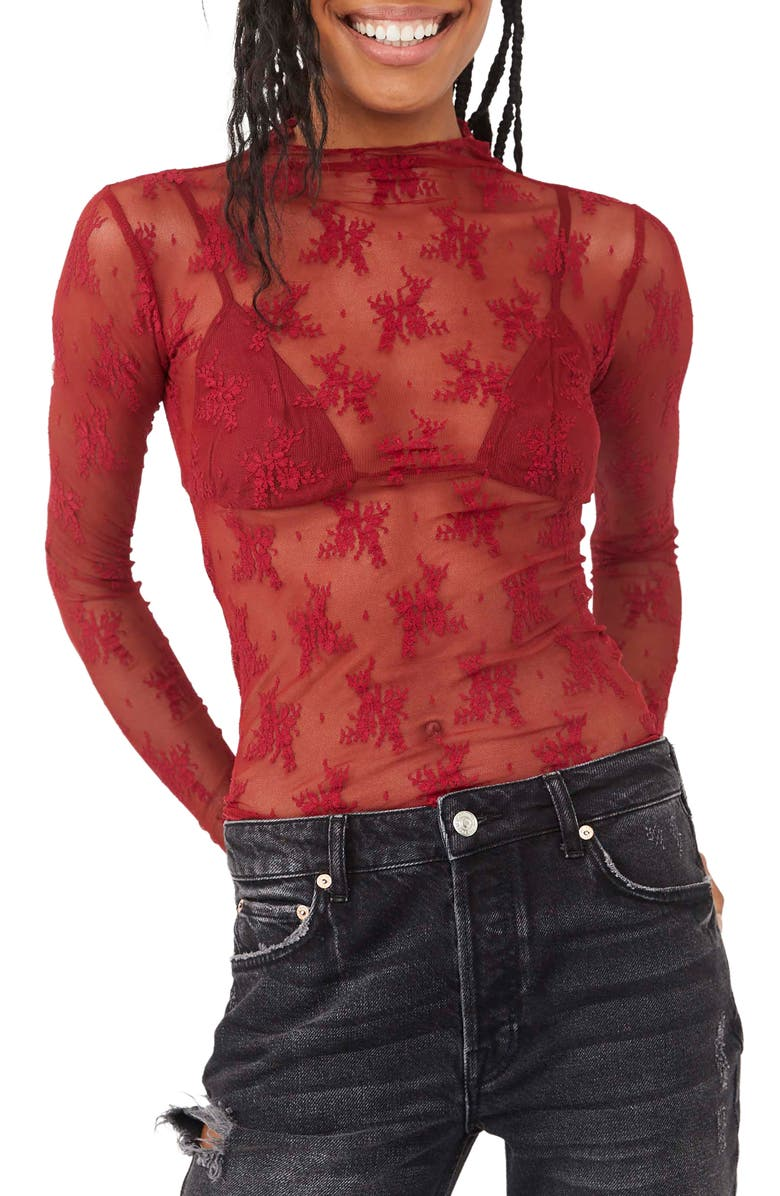 FREE PEOPLE Lady Lux Layering Top, Main, color, HOLLY BERRY
