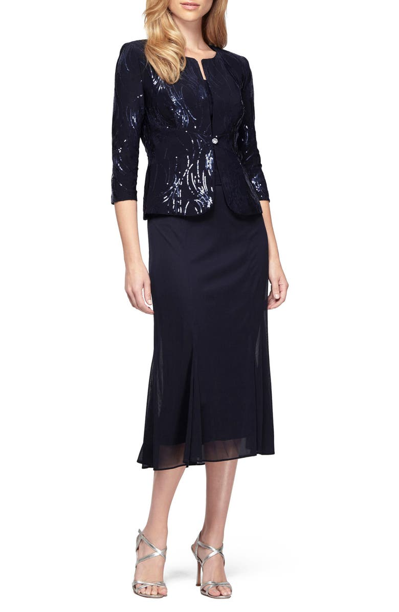 ALEX EVENINGS Sequin Midi Dress with Jacket, Main, color, NAVY