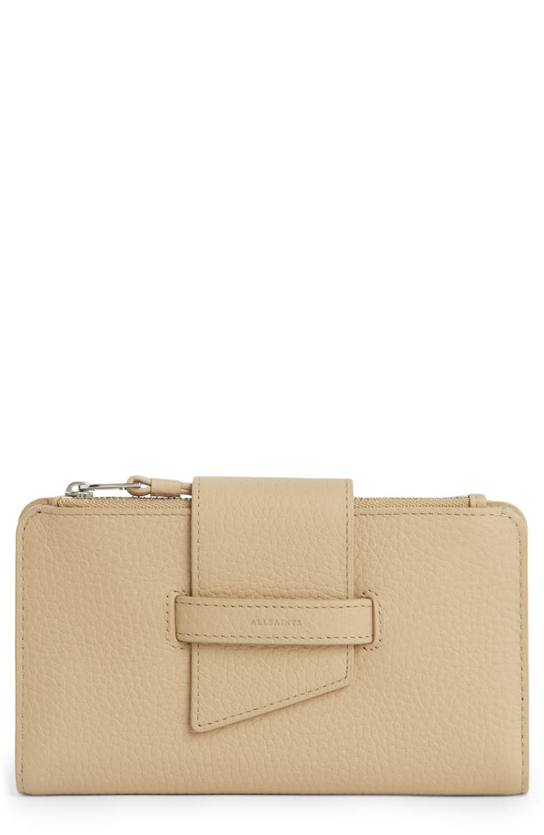 ALLSAINTS Ray Leather Wallet, Main, color, CARAMEL
