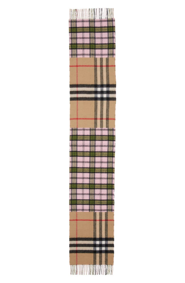 BURBERRY Found Check & Giant Check Cashmere & Merino Wool Scarf, Main, color, 650