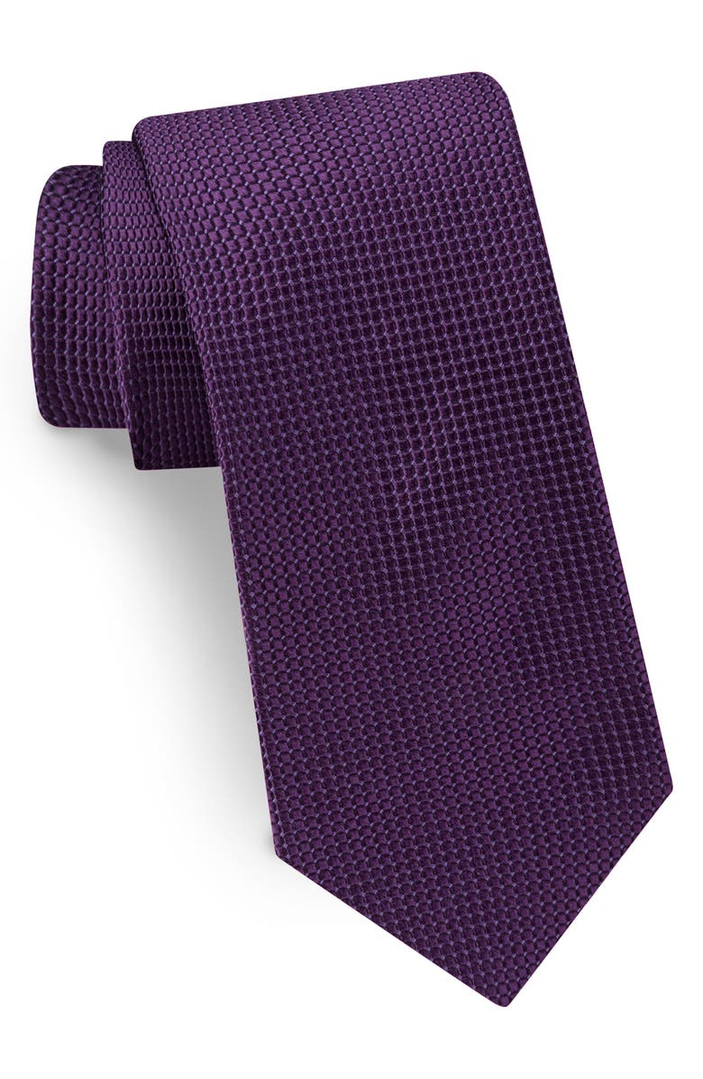 TED BAKER LONDON Solid Silk Tie, Main, color, PLUM