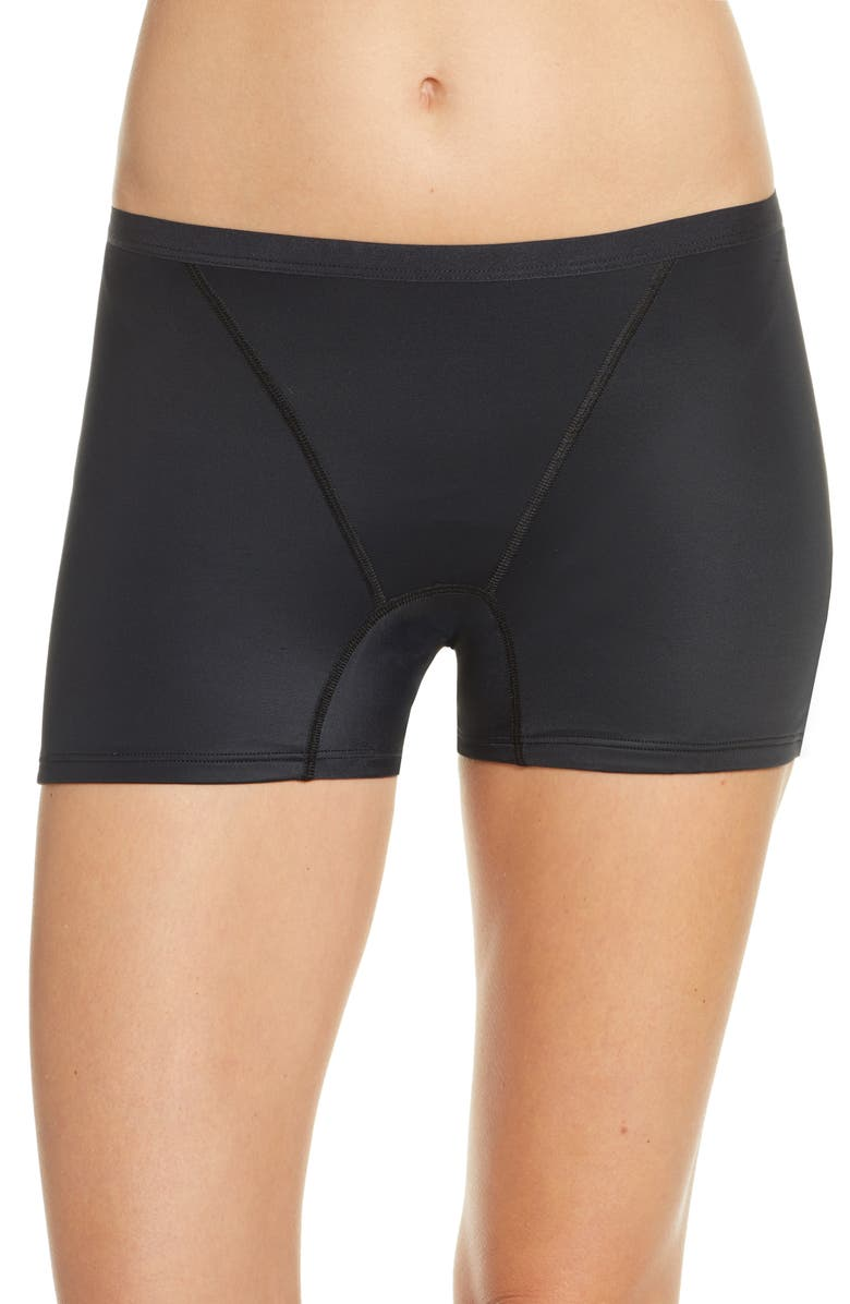 THINX Boyshorts Period Underwear, Main, color, BLACK