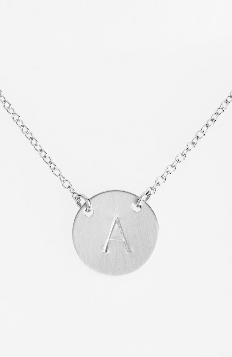NASHELLE Sterling Silver Initial Disc Necklace, Main, color, STERLING SILVER A