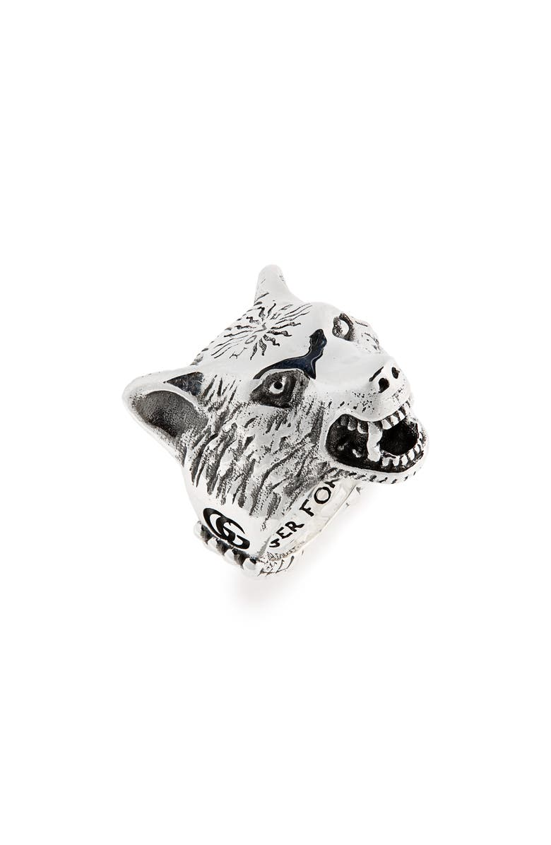 GUCCI Wolf Head Sterling Silver Ring, Main, color, 040