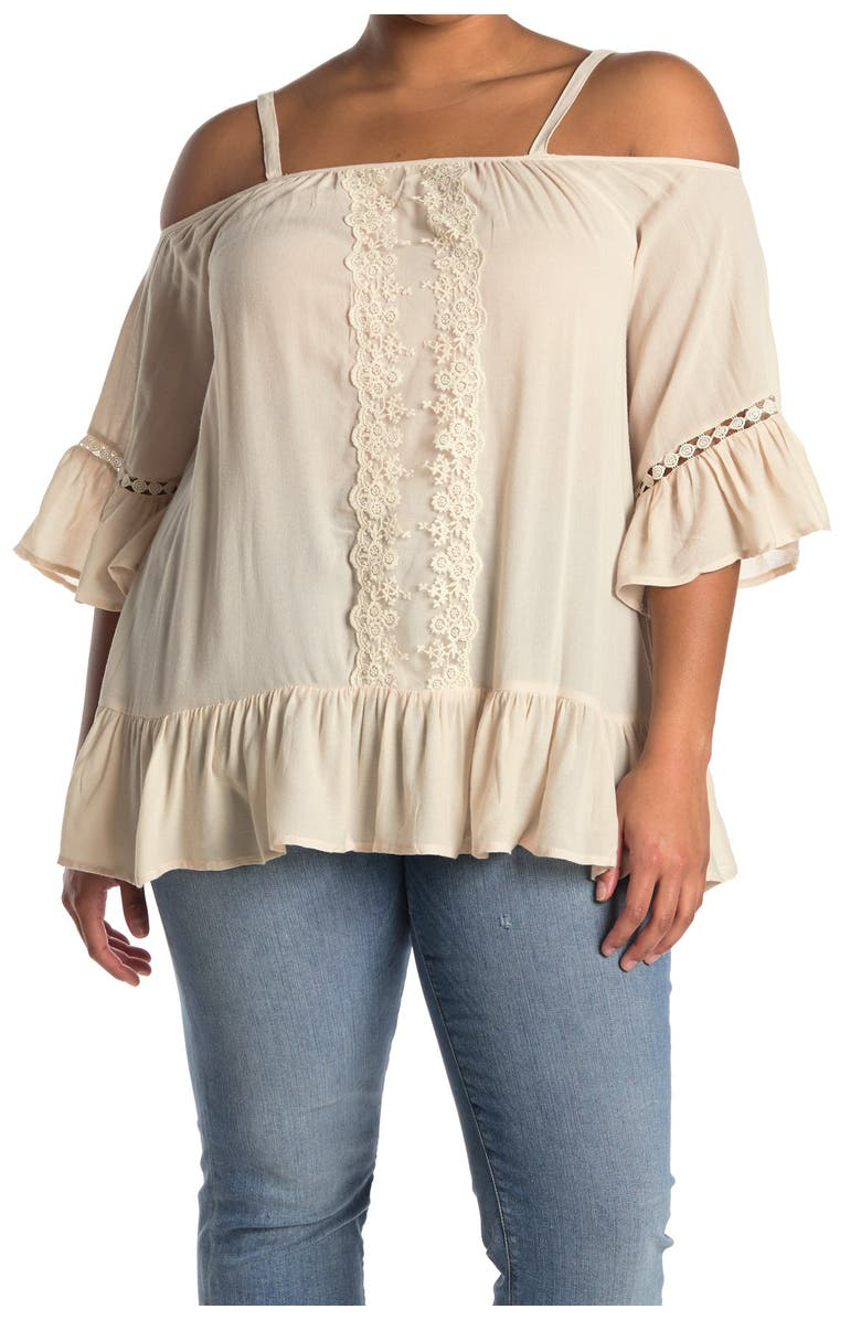 FORGOTTEN GRACE Off-The-Shoulder Embroidered Blouse, Main, color, NATURAL