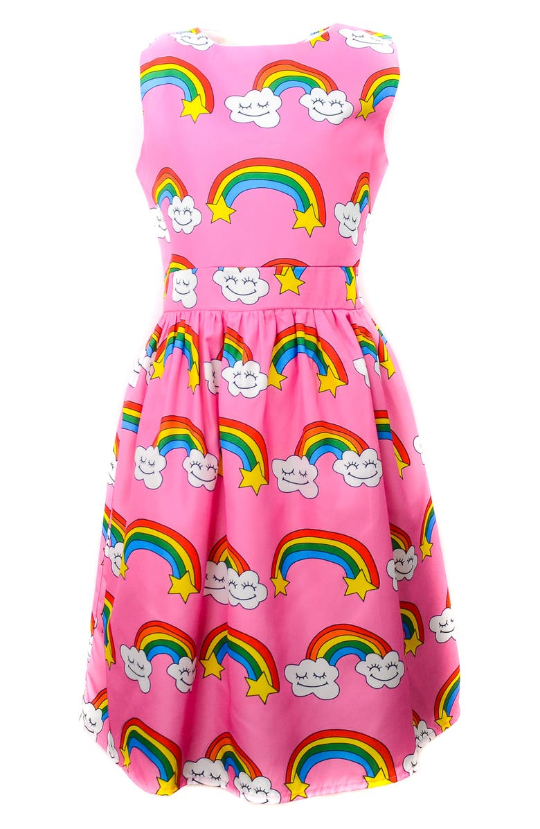 LOLA & THE BOYS Stars Rainbow Dress, Main, color, 650