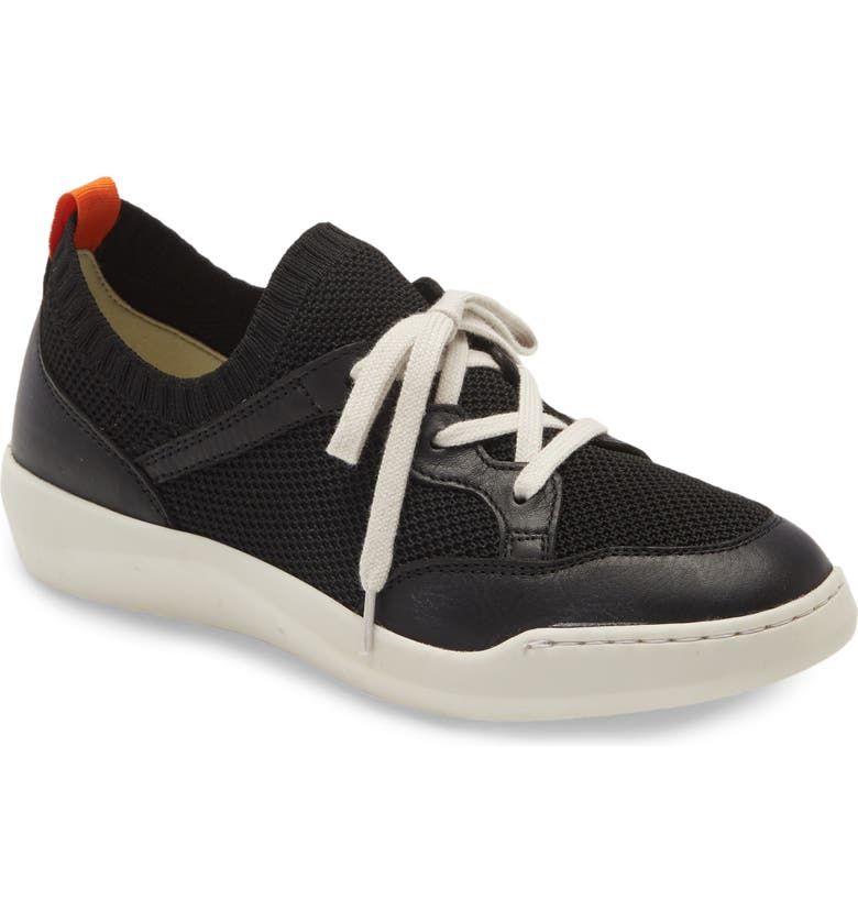SOFTINOS BY FLY LONDON Fly London Beae Sneaker, Main, color, BLACK/ ANTHRACITE KNIT FABRIC