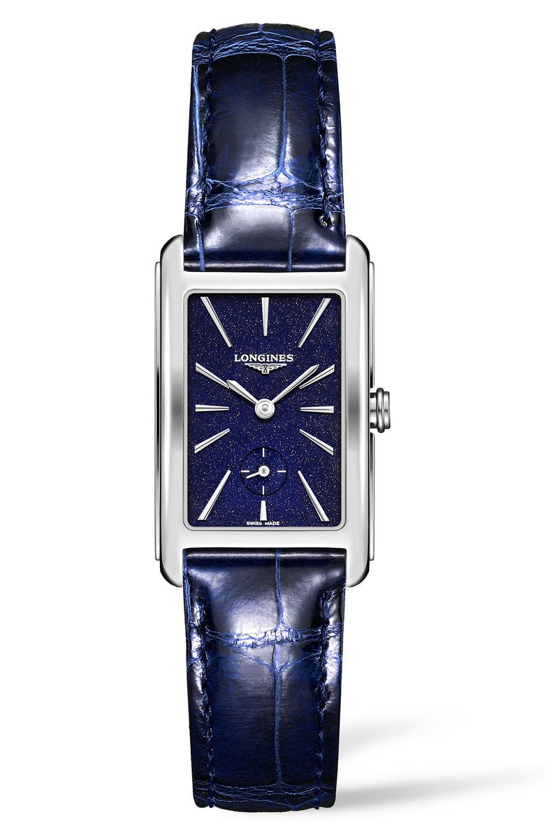 LONGINES DolceVita Alligator Leather Strap Watch, 23mm x 37mm, Main, color, BLUE/ SILVER