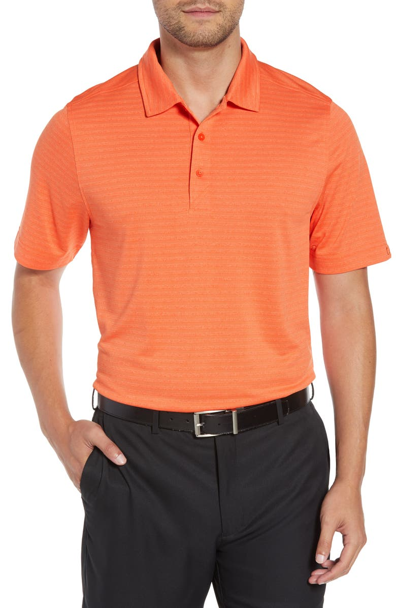CUTTER & BUCK Cascade Melange Striped Polo, Main, color, COLLEGE ORANGE HEATHER