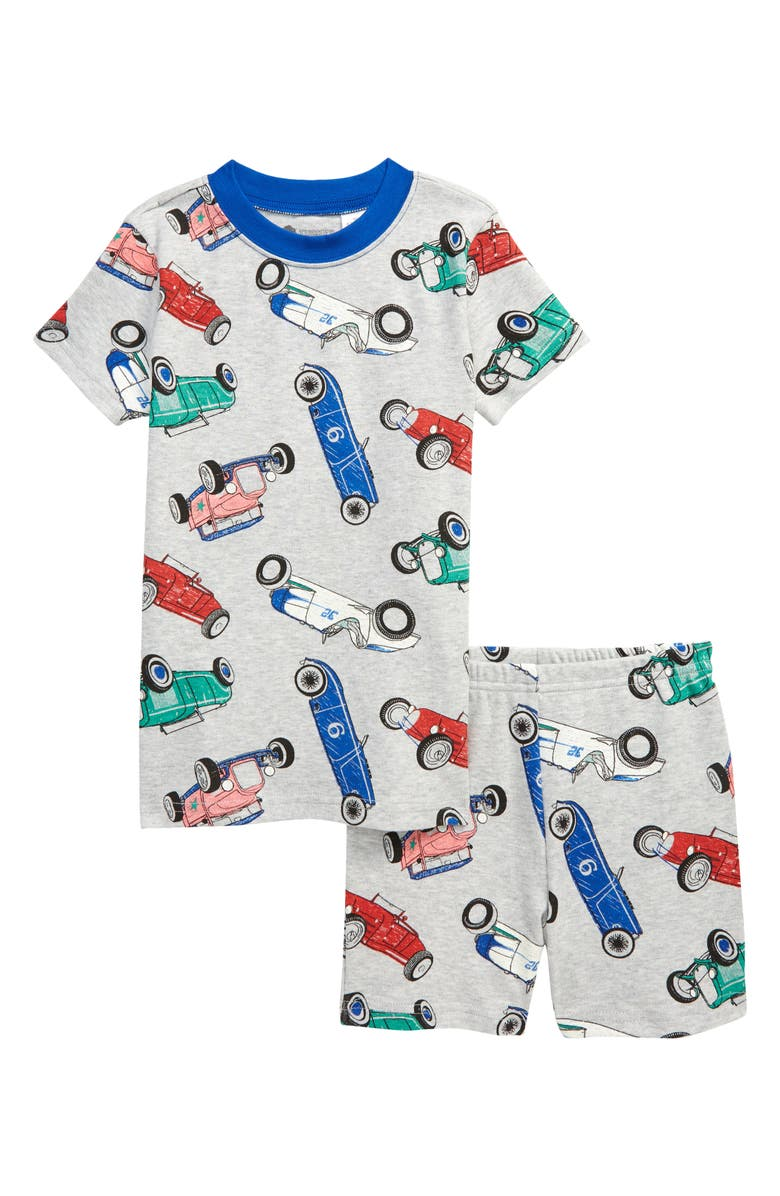 TUCKER + TATE x Smithsonian Kids' Glow in the Dark Fitted Two-Piece Short Pajamas, Main, color, GREY VINTAGE CARS