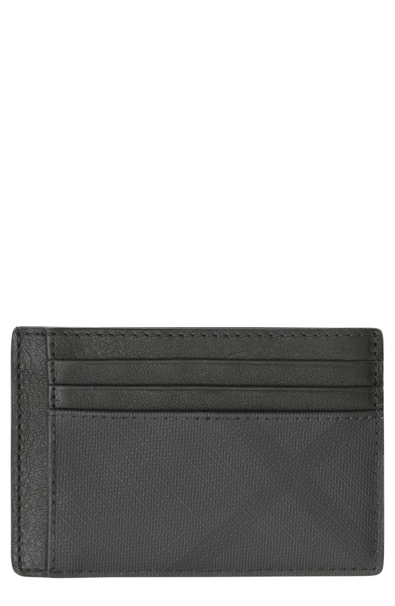BURBERRY Chase London Check Card Case, Main, color, Black