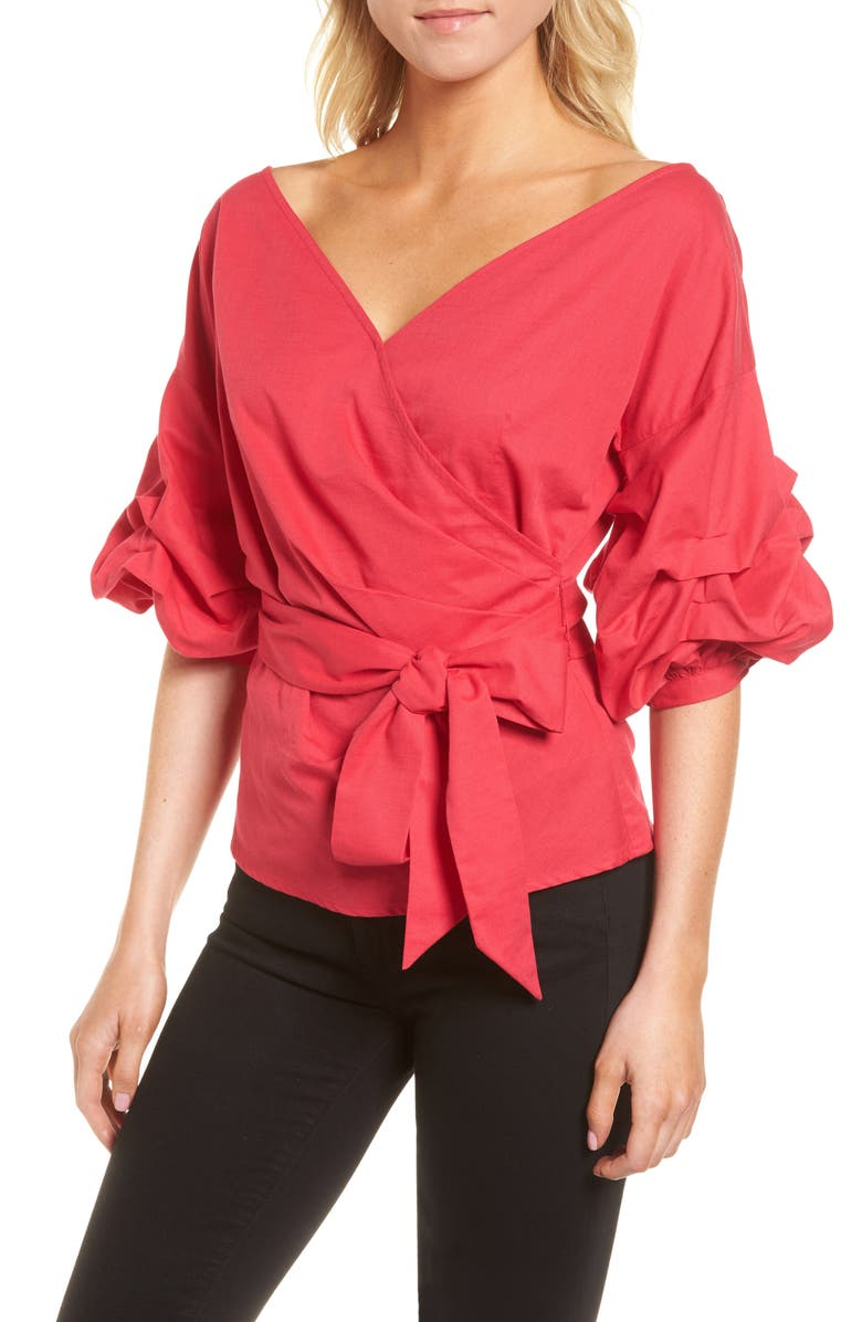 CHELSEA28 Wrap Top, Main, color, RED BARBERRY