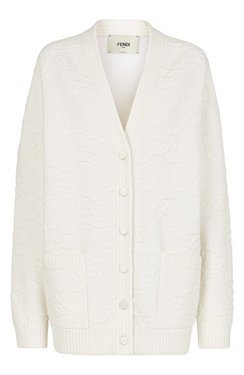 FENDI Karligraphy Quilted Cardigan, Main, color, SALLY