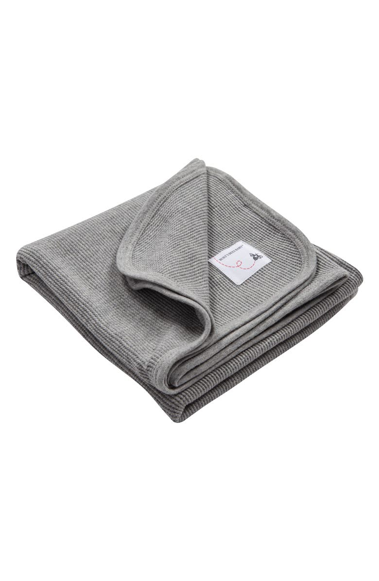 BURT'S BEES Thermal Knit Organic Cotton Receiving Blanket, Main, color, HEATHER GREY