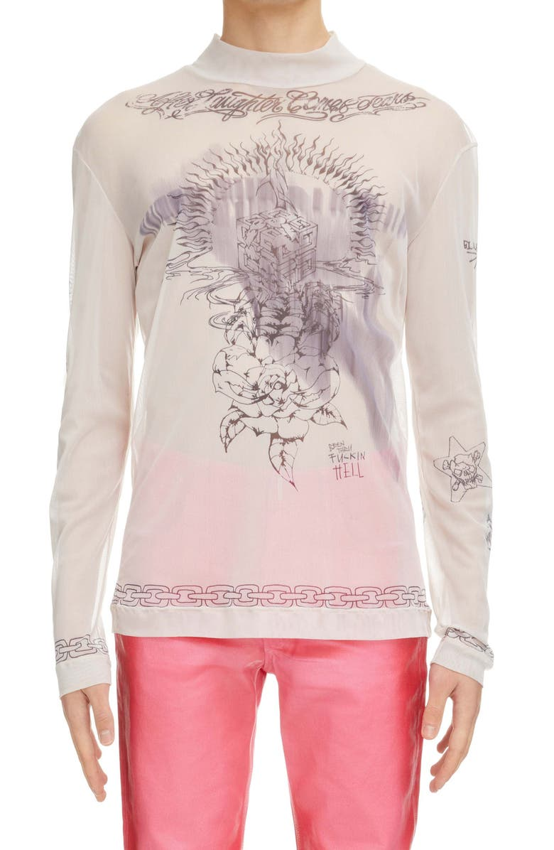 GIVENCHY Tattoo Shrine Long Sleeve Mesh Top, Main, color, BEIGE