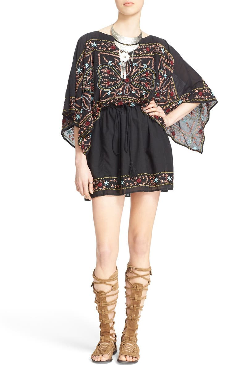 FREE PEOPLE 'Sheer Batiste' Embroidered Tunic Dress, Main, color, 001