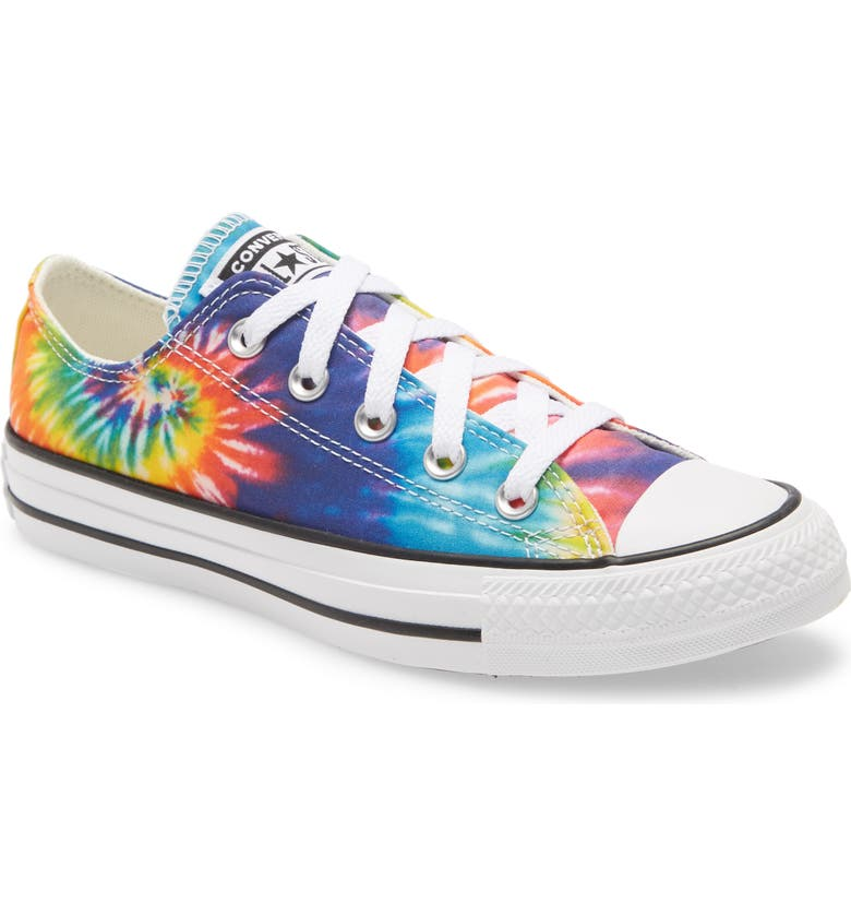 CONVERSE Chuck Taylor<sup>®</sup> All Star<sup>®</sup> Tie Dye Low Top Sneaker, Main, color, WHITE/ MULTI/ BLACK