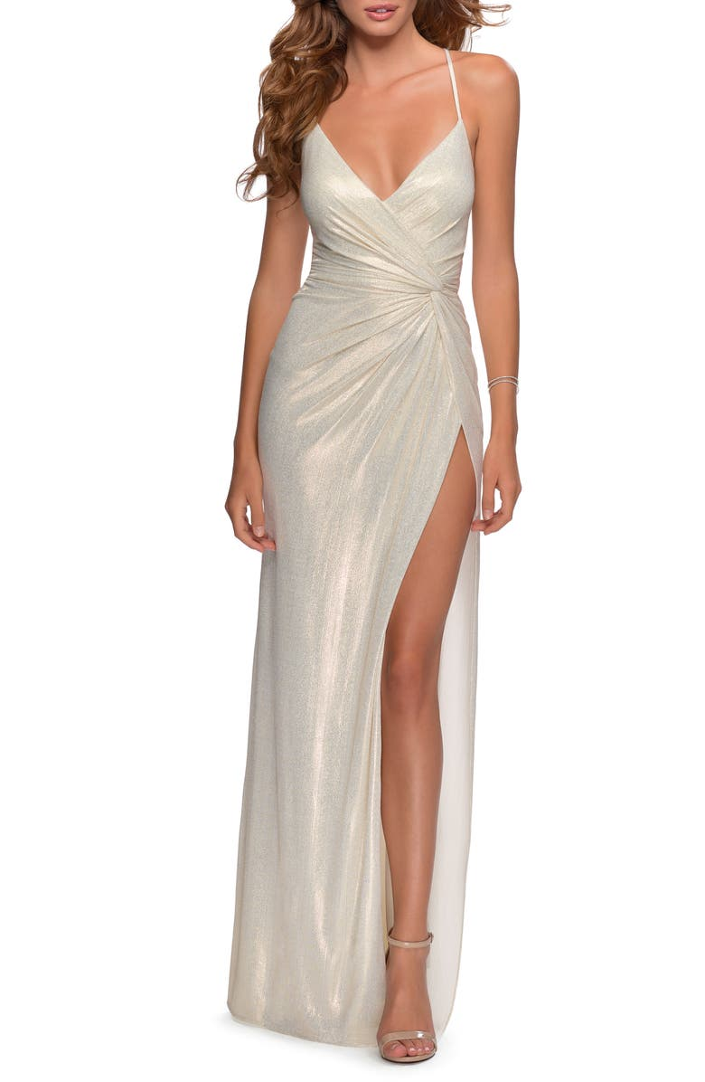 LA FEMME Glitter Knot Detail Jersey Gown, Main, color, WHITE/ GOLD