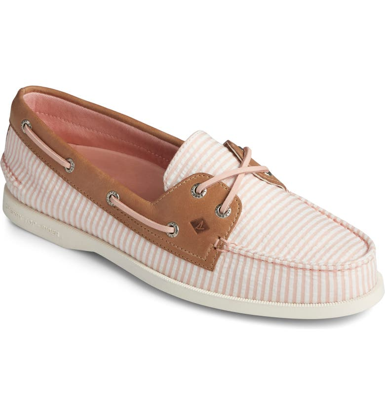 SPERRY 'Authentic Original' Boat Shoe, Main, color, PINK STRIPE FABRIC