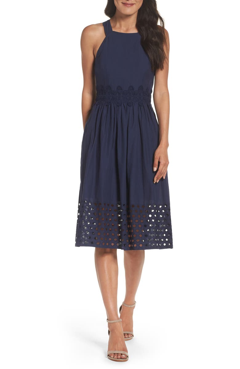 VINCE CAMUTO Fit & Flare Midi Dress, Main, color, NAVY