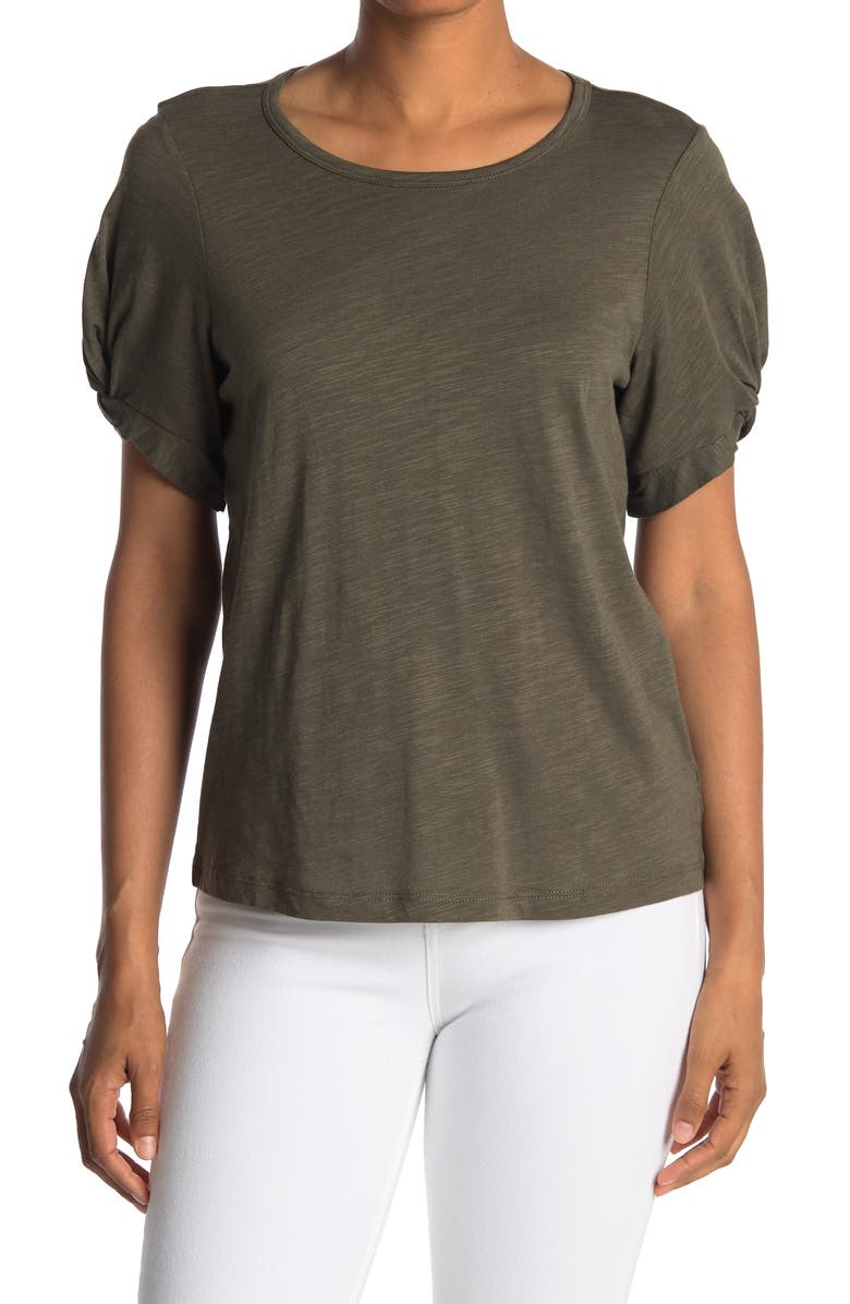 SANCTUARY Twisted Sleeve Knit T-Shirt, Main, color, FATIGUE