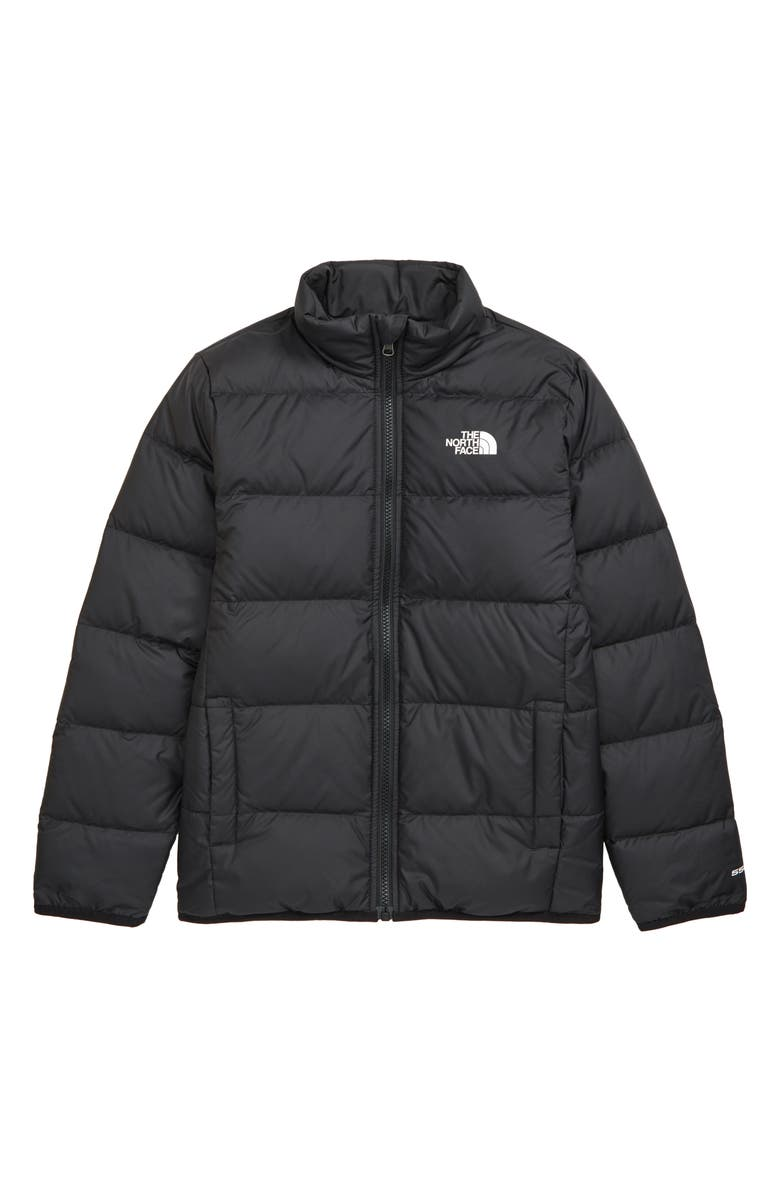 THE NORTH FACE Kids' Andes Reversible Water Repellent 550 Fill Power Down Puffer Jacket, Main, color, TNF BLACK