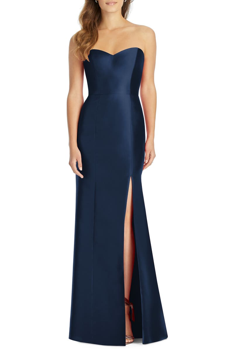 ALFRED SUNG Strapless Satin Trumpet Gown, Main, color, MIDNIGHT