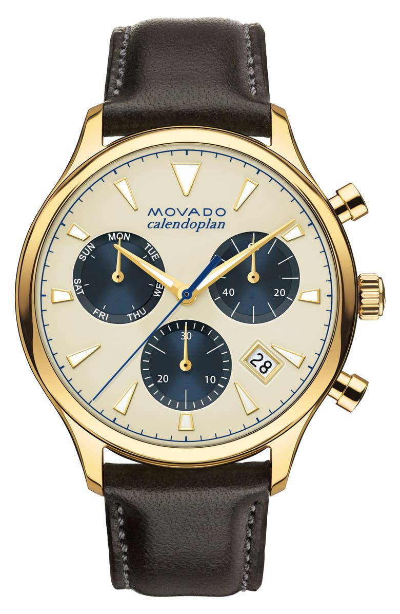 MOVADO 'Heritage' Chronograph Leather Strap Watch, 43mm, Main, color, BROWN/ BEIGE