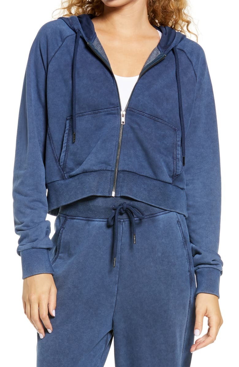 SWEATY BETTY Gary Zip Front Hoodie, Main, color, BEETLE BLUE