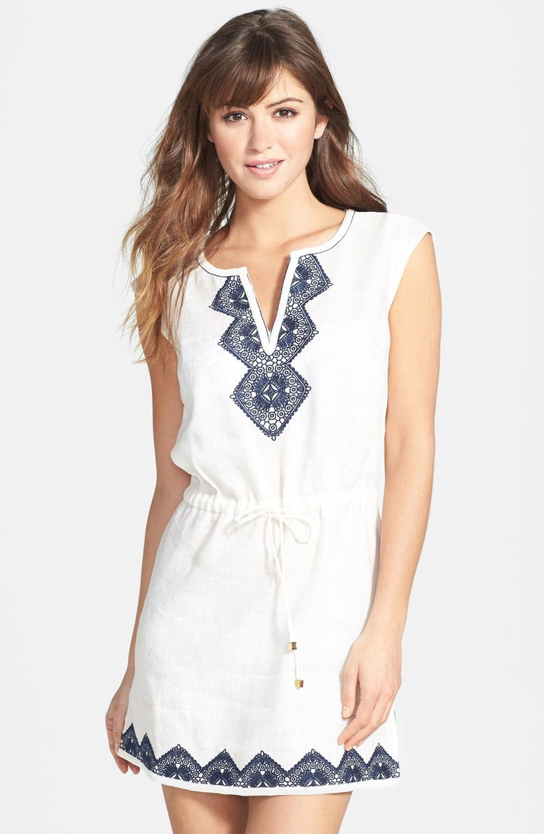 TORY BURCH 'Margherita' Embroidered Linen Dress, Main, color, IVORY/ TORY NAVY