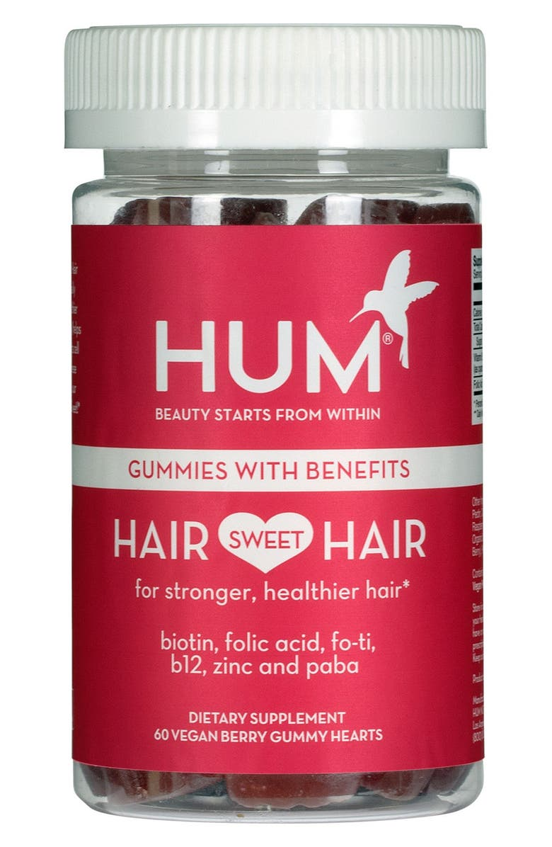 HUM NUTRITION Hair Sweet Hair Vegan Gummies Length & Strength Dietary Supplement, Main, color, NO COLOR