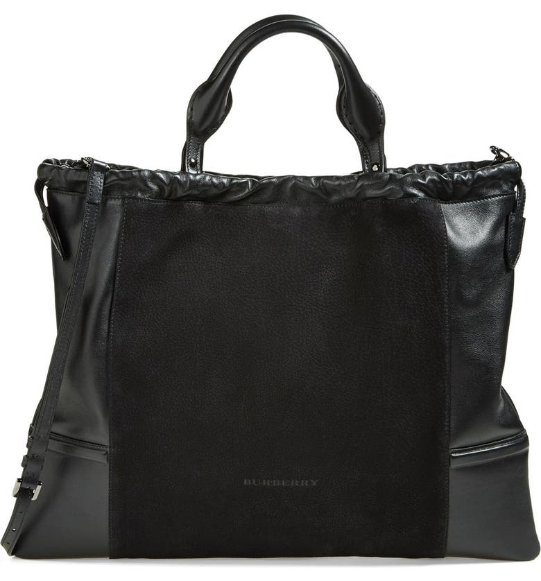 BURBERRY 'Big Crush' Leather Tote, Main, color, Black