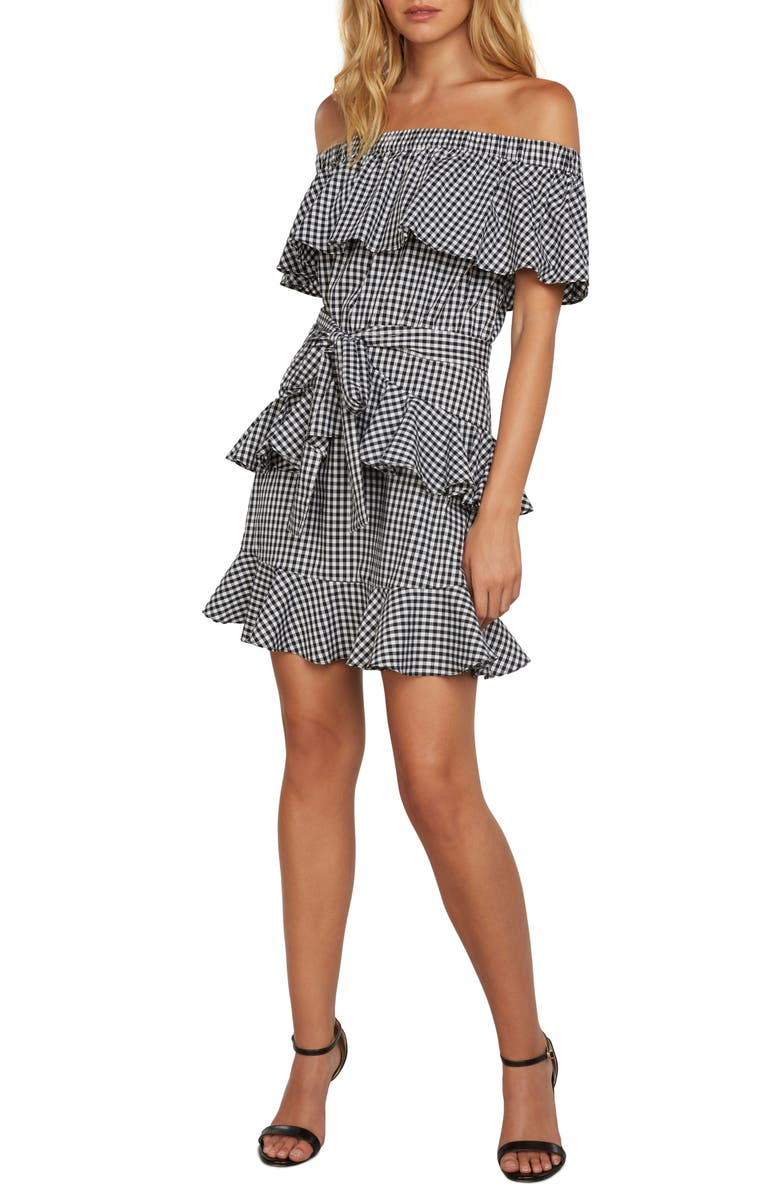 ZZDNU WILLOW & CLAY Willow & Clay Gingham Off the Shoulder Dress, Main, color, Black