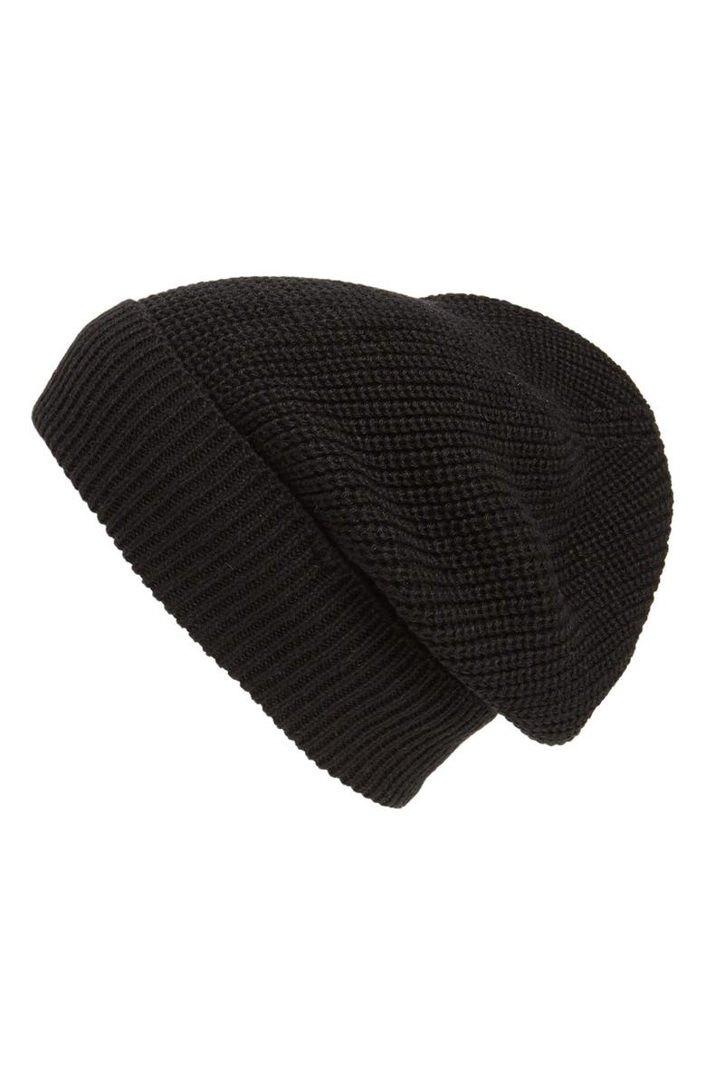 PHASE 3 'Stand Up' Basket Knit Slouchy Beanie, Main, color, 001
